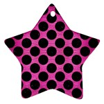 CIRCLES2 BLACK MARBLE & PINK BRUSHED METAL Star Ornament (Two Sides)