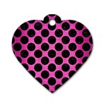 CIRCLES2 BLACK MARBLE & PINK BRUSHED METAL Dog Tag Heart (One Side)