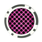 CIRCLES2 BLACK MARBLE & PINK BRUSHED METAL Poker Chip Card Guard