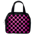 CIRCLES2 BLACK MARBLE & PINK BRUSHED METAL Classic Handbags (One Side)