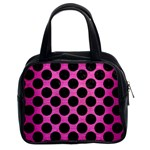 CIRCLES2 BLACK MARBLE & PINK BRUSHED METAL Classic Handbags (2 Sides)