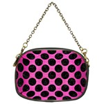 CIRCLES2 BLACK MARBLE & PINK BRUSHED METAL Chain Purses (Two Sides)