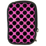 CIRCLES2 BLACK MARBLE & PINK BRUSHED METAL Compact Camera Cases