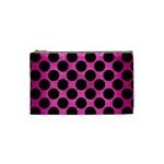 CIRCLES2 BLACK MARBLE & PINK BRUSHED METAL Cosmetic Bag (Small)