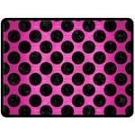 CIRCLES2 BLACK MARBLE & PINK BRUSHED METAL Fleece Blanket (Large)