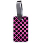 CIRCLES2 BLACK MARBLE & PINK BRUSHED METAL Luggage Tags (Two Sides)