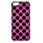 CIRCLES2 BLACK MARBLE & PINK BRUSHED METAL Apple Seamless iPhone 5 Case (Clear)