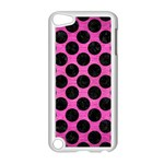 CIRCLES2 BLACK MARBLE & PINK BRUSHED METAL Apple iPod Touch 5 Case (White)