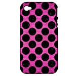 CIRCLES2 BLACK MARBLE & PINK BRUSHED METAL Apple iPhone 4/4S Hardshell Case (PC+Silicone)