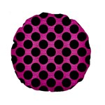 CIRCLES2 BLACK MARBLE & PINK BRUSHED METAL Standard 15  Premium Round Cushions