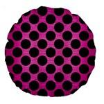 CIRCLES2 BLACK MARBLE & PINK BRUSHED METAL Large 18  Premium Round Cushions