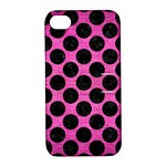 CIRCLES2 BLACK MARBLE & PINK BRUSHED METAL Apple iPhone 4/4S Hardshell Case with Stand