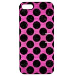 CIRCLES2 BLACK MARBLE & PINK BRUSHED METAL Apple iPhone 5 Hardshell Case with Stand