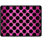 CIRCLES2 BLACK MARBLE & PINK BRUSHED METAL Double Sided Fleece Blanket (Large)