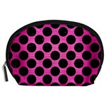 CIRCLES2 BLACK MARBLE & PINK BRUSHED METAL Accessory Pouches (Large)
