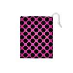 CIRCLES2 BLACK MARBLE & PINK BRUSHED METAL Drawstring Pouches (Small)