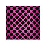 CIRCLES2 BLACK MARBLE & PINK BRUSHED METAL Small Satin Scarf (Square)