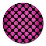 CIRCLES2 BLACK MARBLE & PINK BRUSHED METAL (R) Round Mousepads