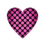 CIRCLES2 BLACK MARBLE & PINK BRUSHED METAL (R) Heart Magnet