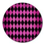 DIAMOND1 BLACK MARBLE & PINK BRUSHED METAL Round Mousepads