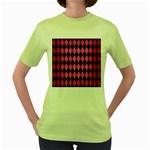 DIAMOND1 BLACK MARBLE & PINK BRUSHED METAL Women s Green T-Shirt