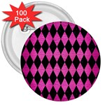 DIAMOND1 BLACK MARBLE & PINK BRUSHED METAL 3  Buttons (100 pack)