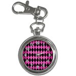 DIAMOND1 BLACK MARBLE & PINK BRUSHED METAL Key Chain Watches
