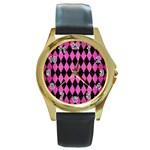 DIAMOND1 BLACK MARBLE & PINK BRUSHED METAL Round Gold Metal Watch