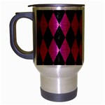 DIAMOND1 BLACK MARBLE & PINK BRUSHED METAL Travel Mug (Silver Gray)