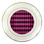 DIAMOND1 BLACK MARBLE & PINK BRUSHED METAL Porcelain Plates