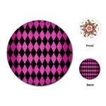 DIAMOND1 BLACK MARBLE & PINK BRUSHED METAL Playing Cards (Round)
