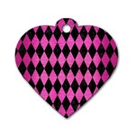 DIAMOND1 BLACK MARBLE & PINK BRUSHED METAL Dog Tag Heart (One Side)