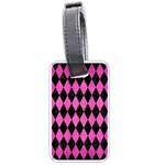 DIAMOND1 BLACK MARBLE & PINK BRUSHED METAL Luggage Tags (Two Sides)