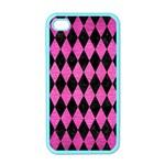 DIAMOND1 BLACK MARBLE & PINK BRUSHED METAL Apple iPhone 4 Case (Color)