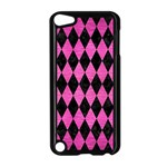 DIAMOND1 BLACK MARBLE & PINK BRUSHED METAL Apple iPod Touch 5 Case (Black)