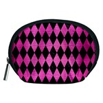 DIAMOND1 BLACK MARBLE & PINK BRUSHED METAL Accessory Pouches (Medium)