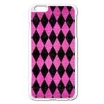 DIAMOND1 BLACK MARBLE & PINK BRUSHED METAL Apple iPhone 6 Plus/6S Plus Enamel White Case