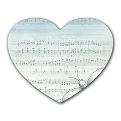 Vintage Blue Music Notes Heart Mousepads from DesignYourOwnGift.com Front