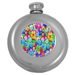 Flowers Ornament Decoration Round Hip Flask (5 oz)