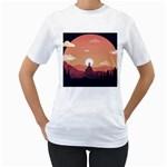 Design Art Hill Hut Landscape Women s T-Shirt (White) (Two Sided)