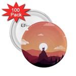 Design Art Hill Hut Landscape 2.25  Buttons (100 pack)
