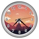 Design Art Hill Hut Landscape Wall Clocks (Silver)