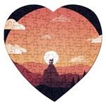 Design Art Hill Hut Landscape Jigsaw Puzzle (Heart)