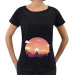 Design Art Hill Hut Landscape Women s Loose-Fit T-Shirt (Black)