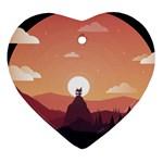 Design Art Hill Hut Landscape Heart Ornament (Two Sides)
