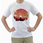 Design Art Hill Hut Landscape Men s T-Shirt (White) (Two Sided)