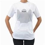 Ghost Halloween Spooky Horror Fear Women s T-Shirt (White) (Two Sided)