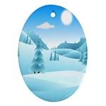 Landscape Winter Ice Cold Xmas Ornament (Oval)