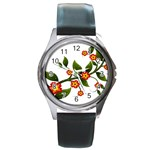 Flower Branch Nature Leaves Plant Round Metal Watch