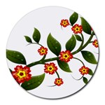 Flower Branch Nature Leaves Plant Round Mousepads